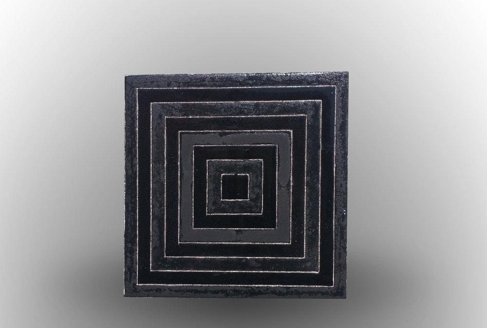 Dessous de plat noir et m tal l le o pierres - Dessous de plat en metal ...