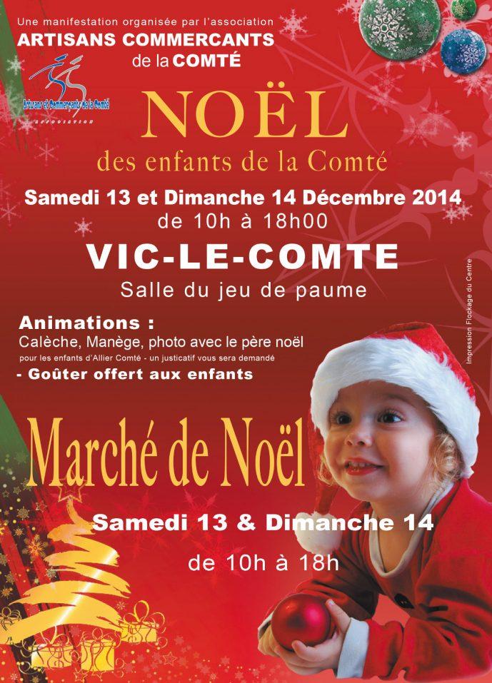 Flyer du marché de Noël de Vic-le-Comte 2014