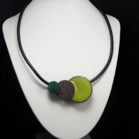 Collier lave émaillée collection 3D anis, pierre et vert