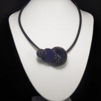 Collier lave émaillée collection 3D violet foncé
