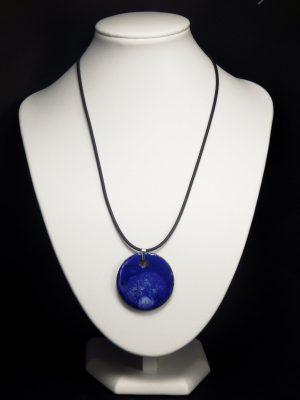 Collier lave émaillée collection cristal bleu