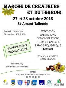 Affiche du marché de créateurs et du terroir à St-Amant-Tallende les 27 et 28 octobre 2018
