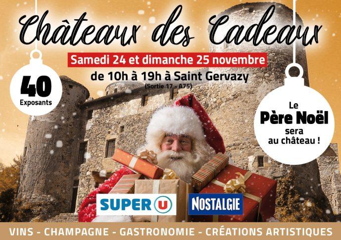 Affiche de la huitième édition du Château des Cadeaux à Saint-Gervazy, les 24 et 25 novembre 2018
