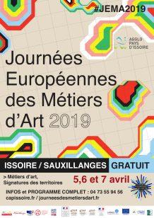 Affiche des Journées Européennes des Métiers d'Art 2019 à Issoire et Sauxillanges