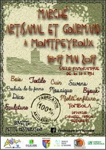 Flyer du marché artisanal et gourmand à Montpeyroux les 18 et 19 mai 2019 (L'Échoppe Art'isanale et Les Choucas)