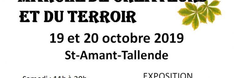 Affiche du marché de créateurs et du terroir à St-Amant-Tallende les 19 et 20 octobre 2019