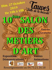 Affiche du 10ème salon des Métiers d'Art à Tauves le 27 octobre 2019