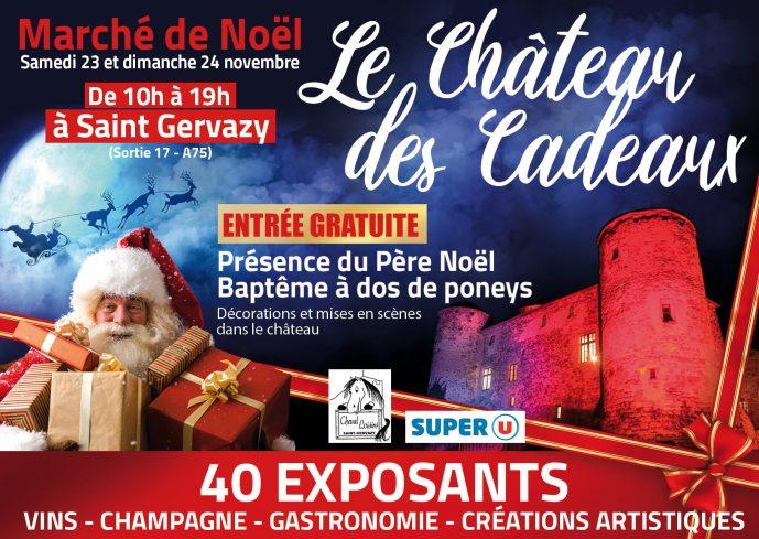 Affiche de la neuvième édition du Château des Cadeaux à Saint-Gervazy, les 23 et 24 novembre 2019