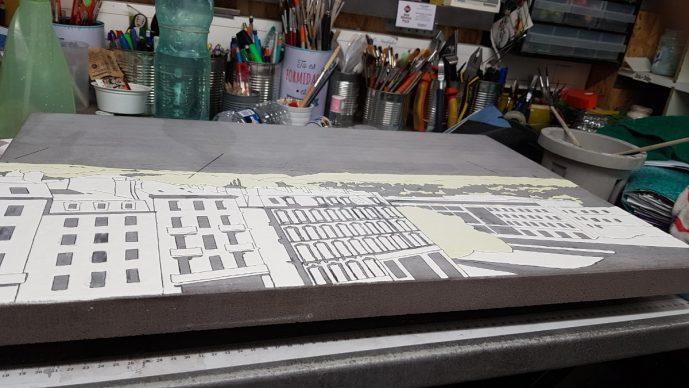 Réalisation de l'émaillage de la table d'orientation.