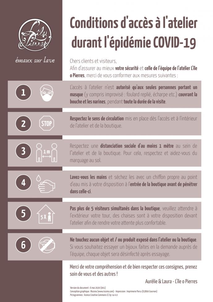 Conditions d'accès à l'atelier-boutique à Montpeyroux durant l'épidémie COVID-19
