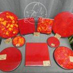 Dessous de plat et de bouteille rouge & orange en lave émaillée par L'île o Pierres.