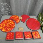Dessous de plat rouge & orange en lave émaillée par L'île o Pierres.