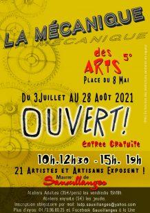 Affiche de l'exposition estivale  d'artistes et artisans à la Mécanique des Arts à Sauxillanges (édition 2021)